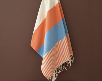 SALE 50 OFF/ BathStyle / Orange-Blue / Turkish Beach Bath Towel / Wedding Gift, Spa, Swim, Pool Towels and Pareo