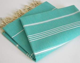 SALE 50 OFF/ Turkish Beach Bath Towel / Classic Peshtemal / Turquoise / Wedding Gift, Spa, Swim, Pool Towels and Pareo