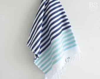 NEW / SALE 50 OFF/ BathStyle / Navy-Blue / Clasic Style Turkish Beach Bath Towel