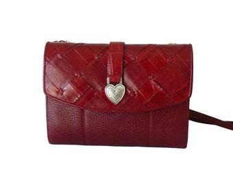 Brighton Candy Apple Red Leather Organizer Crossbody Shoulder Bag