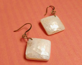 Crackled Mother of Pearl Diamonds on White Resin with Antiqued Gold Plated Brass Earrings