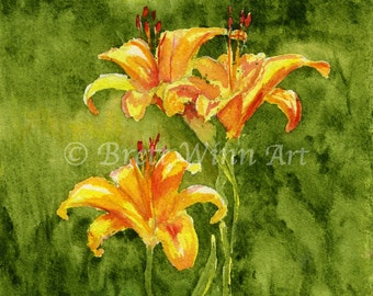 Lily Print, Printable Art, Lily Art, Home Decor, Field Lilies, Watercolor, Wall decor, Instant Download