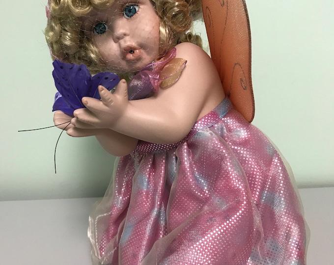 Fairy Doll, Faery Doll, Vintage Doll, Porcelain Doll, Porcelain Fairy Doll, Butterfly, Spring, Nursery Decor