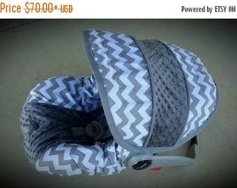 SALE SALE Grey and White Chevron with Charcoal grey Minky - Custom order
