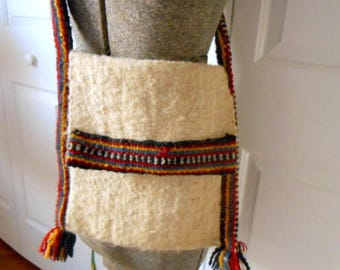 Vintage woven wool Ethnic trimmed over the Body Bag
