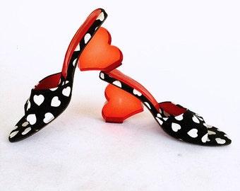 90's Lucite Red Heart High Heel Sandal Mules // SZ 7.5