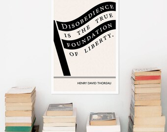 "Literary art prints, ""Henry David Thoreau"" Political Poster, Extra Large Wall Art Quotes, American Flag Black and White Art, Literary Gift"