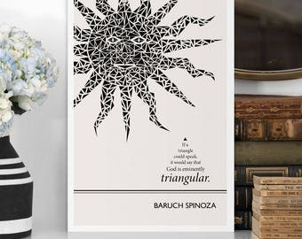 """Literary Quotes Poster """"Spinoza"""" Quote, Black and White Art, Wall Art Prints, Typography Print, Literary Gift, College Student Gift"""