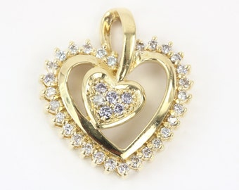 0.40Cts Heart pendant, Yellow gold Heart diamond pendant, Gift for her,