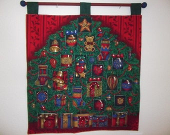 Christmas Advent Calendar - Decorated Tree on Red