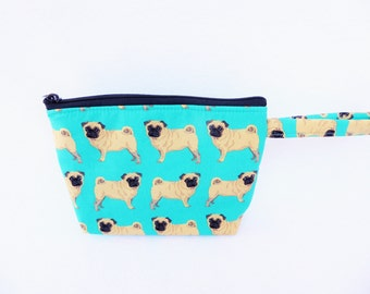 Pug  Dog print  make up bag