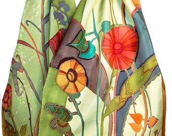 Printed Silk Scarf Floral Rhapsody in Spring Grass Green.Spring Fashion. Gift for her.