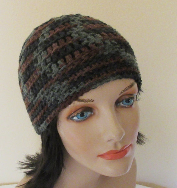 Green and Brown Beanie, Crochet Beanie, Hunter's Hat, Unisex Beanie, Cold Weather Hat, Green and Brown Snow Hat, Snow Playing, Ice Skating