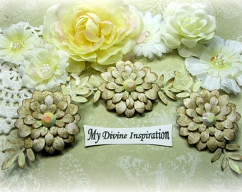 Beige and Ivory Paper Flowers and Paper Embellishments for Scrapbook Layouts Cards Tags Mini Albums Altered Art and Paper Crafts