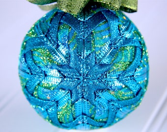 Quilted Christmas Ornament Ball/Blue and Green - Regal Plumes