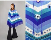 FEBRUARY SALE 70's Hooded KNIT Poncho