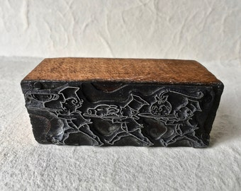 Vintage Metal on Wood Letterpress Block Featuring Three Chefs for Printing and Stamping