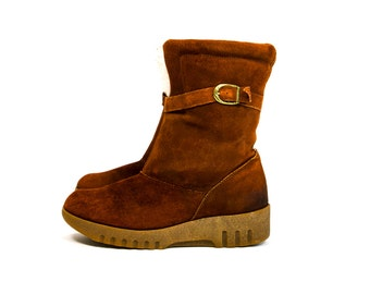 Vintage 1970's Hush Puppies Brand Leather and Faux Shearling Lined Winter Boots Women's Size 6 US Retro/Hippie/Boho