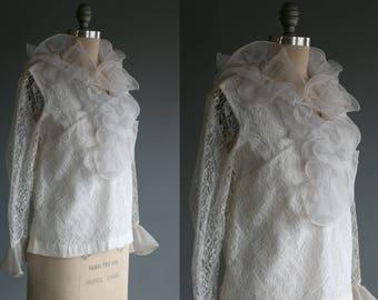 Vintage 60's White Flouncy Feminine Ruffled Lace Button Up Top Women's Medium / Romantic High Collar / Mod