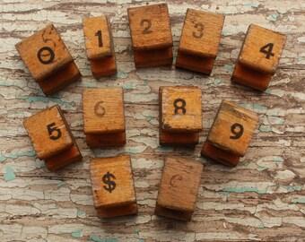 Vintage Number stamp set missing 7