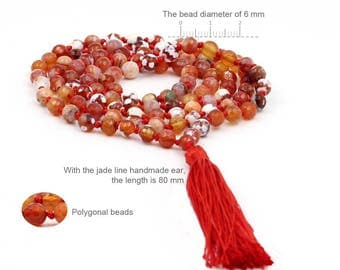 6mm Frosty Faceted Reddish Red Agate 108 Prayer Beads Rosary Beaded Buddhist Japa Mala  ZZ280