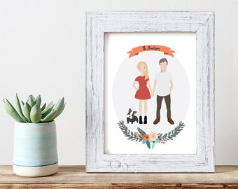 Custom Family Portrait | Family Illustration | Family Portrait | Pet Portrait | Wedding Gift | Christmas Gift | Personalized Gift