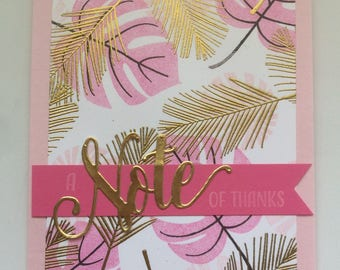 Tropical pink and gold note of thanks