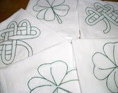 Reserved Listing for Sarah M for 5 Dish (Tea) Towels  with Irish Design Hand Embroidery Flour Sack Dish Towel