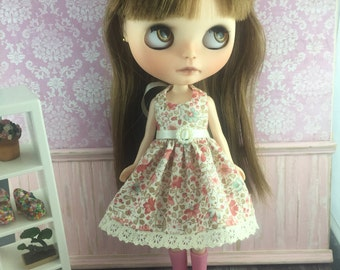 Blythe Party Dress - Apricot and Cream