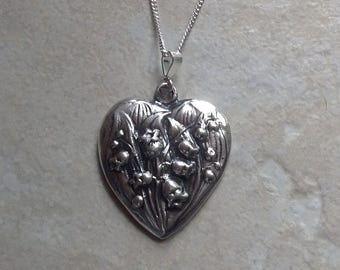 """Large Art Nouveau LILY of the VALLEY Sterling silver 18"""" Pendant French Muguet"""