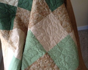 "Man's Green/Brown Lap Quilt- Henry Glass/Yuko Hasegawa -55"" x 77"" - Contemporary/Modern Quilt - Ready to Ship"