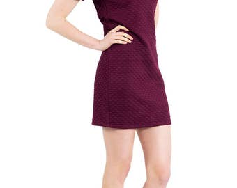 Soft Plum Quilted Cotton Spandex Tshirt Dress with Floral Faux Leather Peter Pan Collar