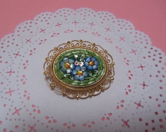 Vintage Micro Mosaic Floral Italian Pin Brooch, Gold Tone Filigree Setting, Bridal Wedding, Mother's Day Gift