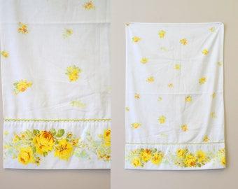 1960s Yellow Rose Pillowcase Set