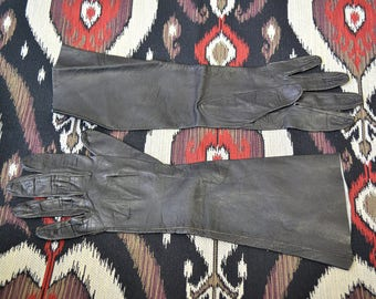 1950s Black Kid Leather Long Gloves, Size 7