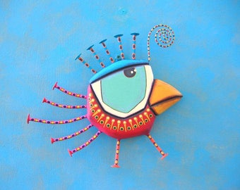 Strawberry Canary, Bird Wall Art, Original Found Object Wall Sculpture, Wood Carving, Wall Decor, by Fig Jam Studio