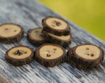 8 small barky oak buttons