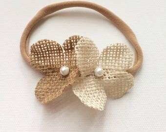 Natural burlap flowered headband