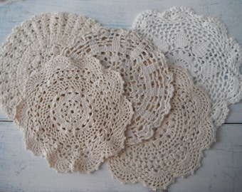 mixed doily destash cream doilies white doilies christmas decor table decor dresser mat vintage doilies crocheted doilies cottage decor