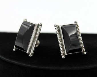 Black Modernist Earrings - Plastic, Marked SILVER MEXICO
