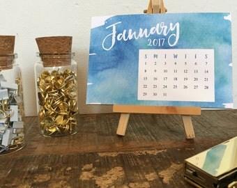 Watercolor Desktop Calendar with Wood Stand - 2017 - Small Desktop Calendar - Christmas Gift - Office Accessories - Mini Desk Calendar