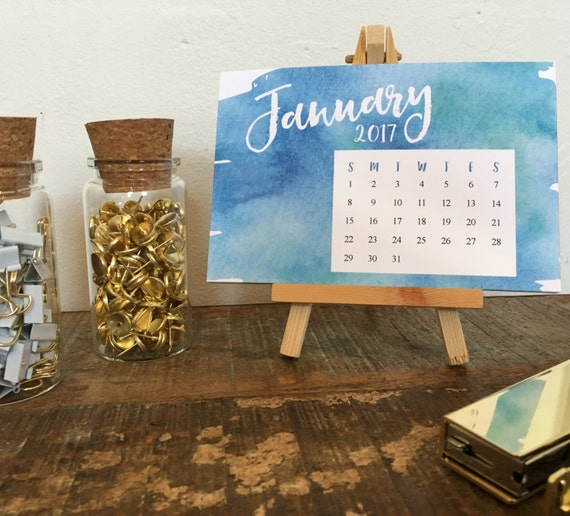 Calendar Wood Stand : Watercolor desktop calendar with wood stand small