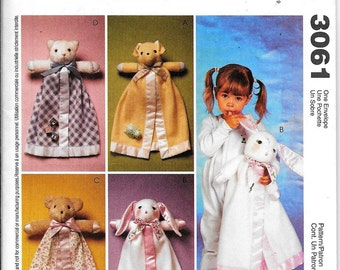 McCall's Crafts 3061 Blanket Buddies Michelle Hains Sewing Pattern UNCUT Dog Bunny Bear Cat