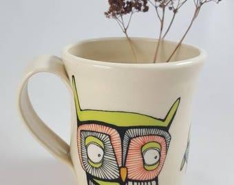 Immediate shipping!! Available now, ceramic owl mug, pottery mug, ceramic mug