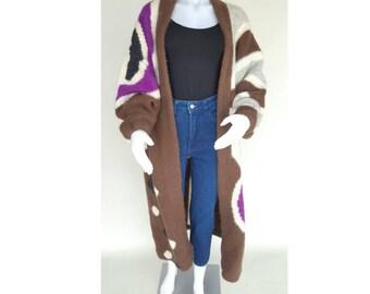 Reserved / Vintage Knit Jacket / Duster Coat  / 70s Jacket / Avant Garde Jacket / Abstract Print