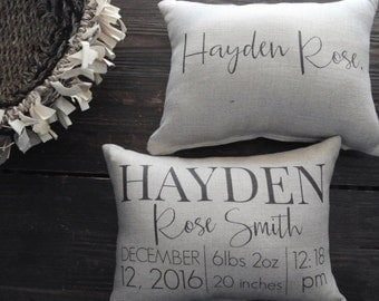 Birth Stat Pillow, Double Sided Birth Pillow, Personalized Pillow, Baby Shower Gift, Personalized Baby pillow, Nursery Pillow, photo prop