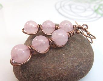 Rose quartz earrings -  wire wrapped gemstone earrings - copper wire earrings - pink earrings - wire wrap earrings - rose quartz jewelry