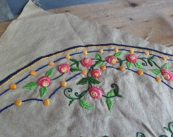 Vintage Large French embroidered 1920's  Large Cushion Top  Boudoir Cushion  Wheelbarrow pattern
