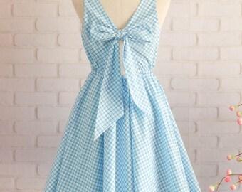 Blue dress Blue party dress Blue plaid dress Blue sundress Blue backless dress Blue Bridesmaid dresses Plaid Bridesmaid dress Blue dresses