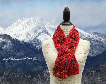 Carnival Red Neckwarmer Scarf in Mixed Fibers. Handmade in Montana. Ready to Ship.